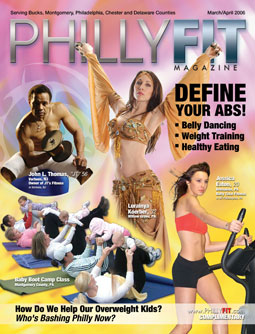 Lurainya Koerber on cover of PhillyFIT magazine in bellydance costume