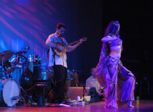 Lurainya Koerber performing belly dance to live music with Bill Koutsouros of Animus at World Cafe Live in Philadelphia, PA