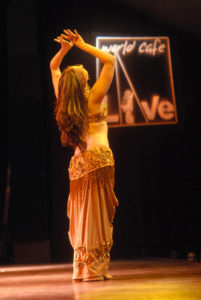 Lurainya Koerber performing belly dance at World Cafe Live in Philadelphia, PA